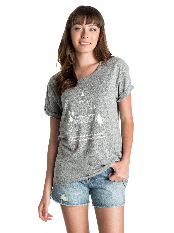 BoyfriendЖенская футболка Boyfriend от ROXY. Характеристики: легкая ткань, короткие рукава, принт спереди, присборенный элемент спереди. СОСТАВ: 57.5% хлопок, 42.5% полиэстер.<br>