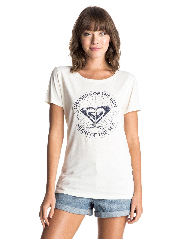 Womens Basic Crew Sun Chasers T-ShirtЖенская футболка Basic Crew Sun Chasers от ROXY. <br>ХАРАКТЕРИСТИКИ: мягкий натуральный трикотаж, декоративный принт спереди, вшитый в боковой шов ярлык ROXY. <br>СОСТАВ: 100% хлопок.<br>