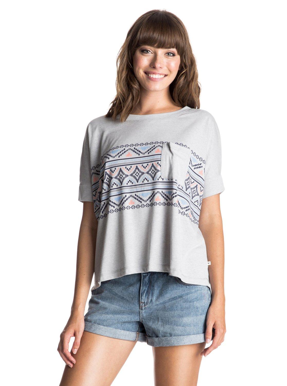 Womens Boxy Pocket Boho Border T-ShirtЖенская футболка Boxy Pocket Boho Border от ROXY. <br>ХАРАКТЕРИСТИКИ: сочетание хлопка, вискозы и полиэстера в крапинку, нагрудный карман, декоративный принт спереди, вшитый в боковой шов ярлык ROXY. <br>СОСТАВ: 50% полиэстер, 38% хлопок, 12% вискоза.<br>