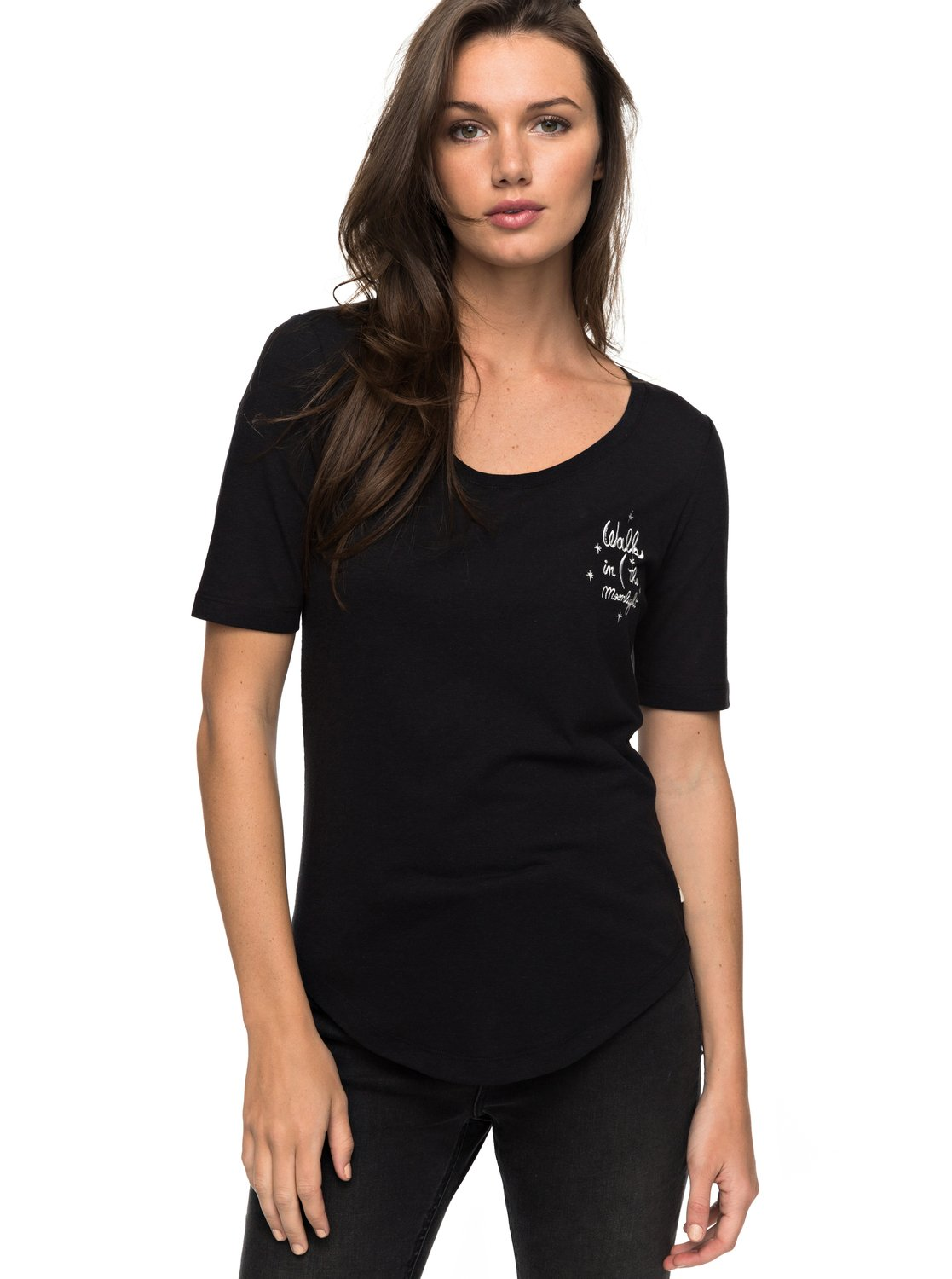 Black t shirt with lace - 0 Boogie Board Lace Up T Shirt Black Erjzt04067 Roxy