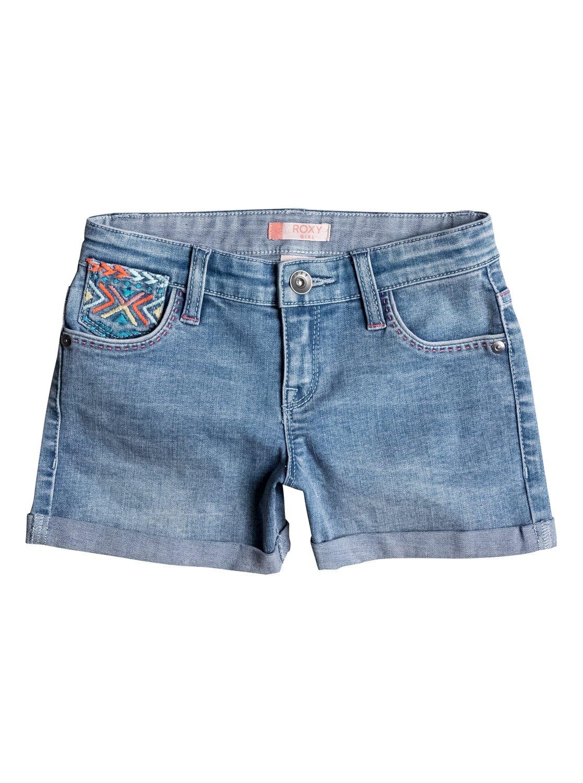 Джинсовые шорты Ribbit EarsКлассические джинсовые шорты для девочек в сочетании с яркими летними красками и геометрической вышивкой смотрятся свежо и современно. Они сшиты из мягкой полусинтетики плотностью 356 г/кв. м с добавлением эластана и украшены цветной строчкой. Очень симпатично!<br>