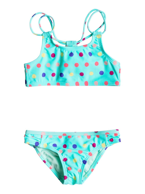 Бикини Rainbow DotsНаша фирменная технологичная ткань из нейлона и эластана – идеальный материал для этого ярко-синего бикини, предназначенного для девочек в возрасте от 2 до 7 лет. Радужный горох, двойные лямки и симпатичные рюши дадут малышке почувствовать себя маленькой принцессой пляжа.<br>