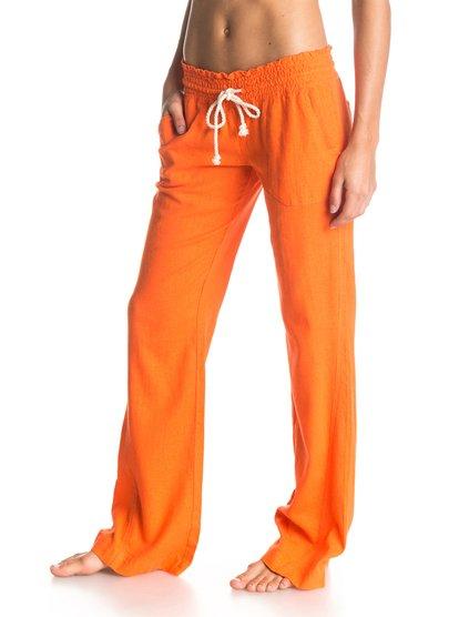 Oceanside PantOceanside Pant – новинка из коллекции одежды Roxy Весна-лето 2015. Характеристики: женские брюки, присборенный пояс на шнурке-утяжке, длина по внутреннему шву 84 см. Дополнительно: состав – 52% лён, 48% вискоза.<br>