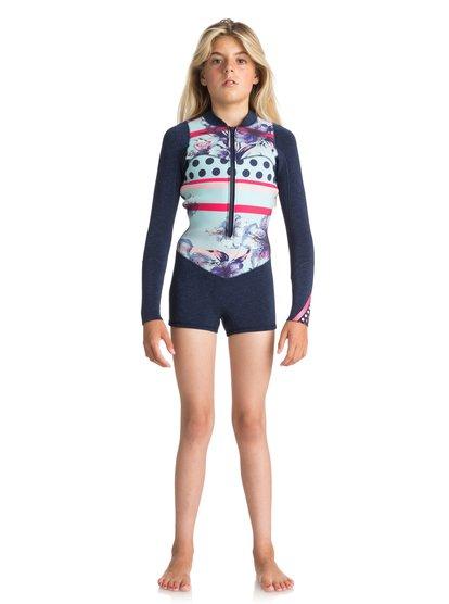 2mm Pop Surf - Springsuit manches longues front zip pour Fille - Bleu - Roxy