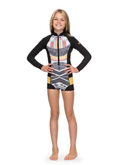 1mm Pop Surf - Springsuit manches longues front zip pour Fille - Noir - Roxy