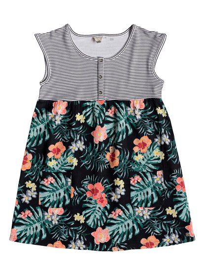 Hey Mama - Robe manches courtes pour Fille 8-16 ans - Anthracite Hibiscus Twist - Roxy