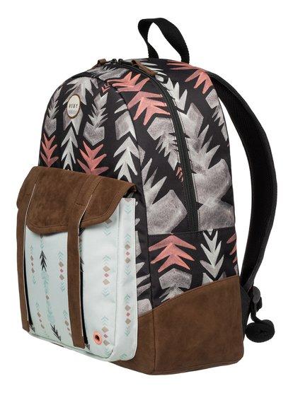 Womens Melrose BackpackЖенский рюкзак Melrose от ROXY.ХАРАКТЕРИСТИКИ: сплошной принт, отделка из искусственной замши, одно основное отделение, передний карман с уплотненными стенками для планшета. СОСТАВ: 100% полиэстер.<br>
