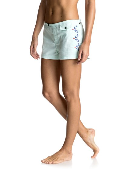 Бордшорты Delicate Touch 2Add an exotic Delicate Touch to you surf kit with these 2 inseam boardshorts cut from a soft bleached aqua-blue swim fabric. Featuring textured stripes, embellished embroidery on the front and back pocket and keyhole detail on the back.  <br>