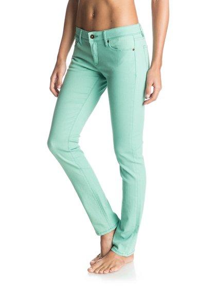 Womens Suntrippers Colors Skinny JeansЖенские джинсы Suntrippers Colors от ROXY.ХАРАКТЕРИСТИКИ: ткань плотностью 238 г/кв. м, цветной деним, изделие прошло смягчающую обработку, кожаная нашивка ROXY на заднем кармане.СОСТАВ: 98% хлопок, 2% эластан.<br>