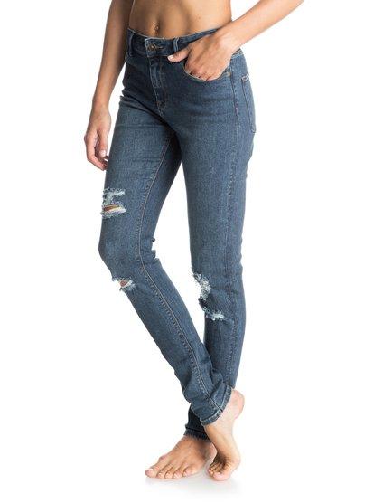 Suntrippers Destroys Skinny JeansОблегающие женские джинсы Suntrippers Destroys от ROXY. <br>ХАРАКТЕРИСТИКИ: удобный эластичный деним, легкий материал плотностью 283,5 г/кв. м, темно-синий цвет с искусственно изношенными участками. <br>СОСТАВ: 99% хлопок, 1% эластан.<br>