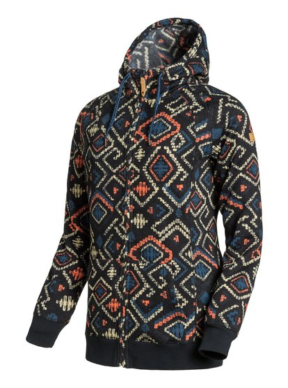Resin KnitЖенская худи Resin Knit на молнии из сноубордической коллекции Roxy. ХАРАКТЕРИСТИКИ: фиксированный капюшон, капюшон на утяжке, теплые карманы для рук, манжеты и подол в рубчик. СОСТАВ: 100% полиэстер.<br>