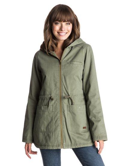 Куртка-парка PrimoЖенская куртка Primo от Roxy.ХАРАКТЕРИСТИКИ: с уплотнителем; подкладка в полоску, застегивается на молнию, контрастная отделка бейкой.СОСТАВ: 100% хлопок.<br>