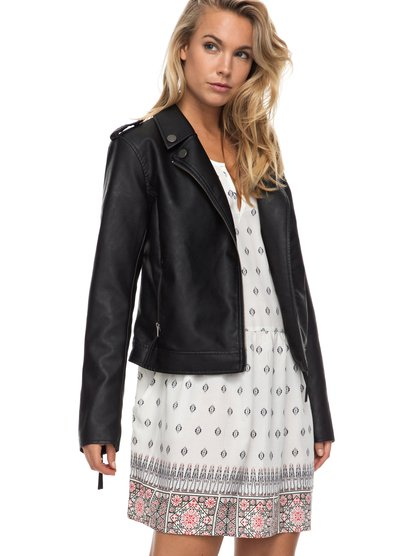 Midnight Ride - Faux Leather Biker Jacket  ERJJK03178