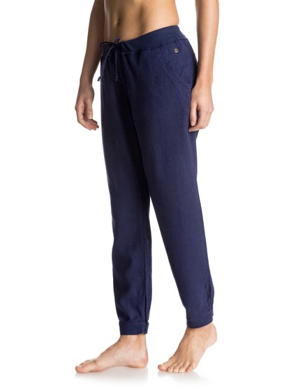 Womens Silver Linings JoggersЖенские штаны для бега Silver Linings от ROXY. <br>ХАРАКТЕРИСТИКИ: тканое полотно, эластичные манжеты, боковые карманы, на утяжке. <br>СОСТАВ: 52% лён, 48% вискоза.<br>