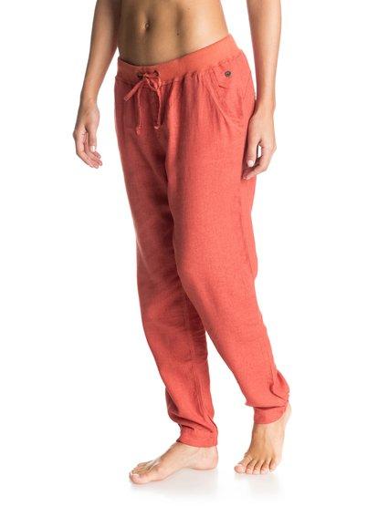 Womens Silver Linings JoggersЖенские штаны для бега Silver Linings от ROXY.ХАРАКТЕРИСТИКИ: тканое полотно, эластичные манжеты, боковые карманы, на утяжке.СОСТАВ: 52% лён, 48% вискоза.<br>