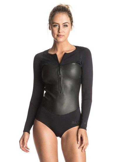 Pop Surf 1mm - Springsuit manches longues zip poitrine pour femme - Noir - Roxy
