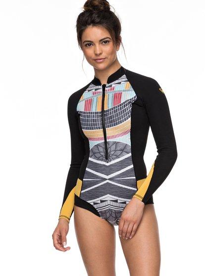 1mm Pop Surf - Springsuit coupe bikini à manches longues avec zip avant pour Femme - Noir - Roxy