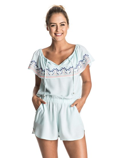 Пляжный комбинезон Delicate TouchInspired by exotic destinations, the Delicate Touch romper combines textured stripes and embellished embroidery with soft bleached aqua blue fabric.<br>