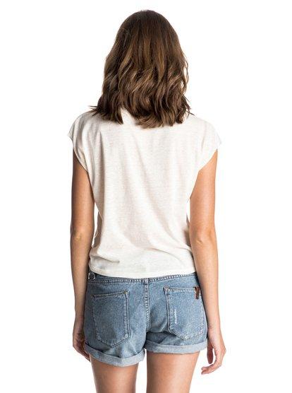 Womens White Tattoo Tropical Landscape Cap Sleeve T-ShirtЖенская футболка White Tattoo Tropical Landscape Cap Sleeve от ROXY. <br>ХАРАКТЕРИСТИКИ: сочетание хлопка, вискозы и полиэстера, неровная фактурная вязка, декоративный узелок спереди, декоративный принт спереди. <br>СОСТАВ: 50% полиэстер, 40% хлопок, 10% вискоза.<br>