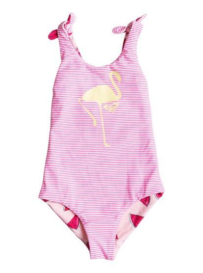 Girls Tasty Watermelon One Piece SwimsuitКупальник для девочек Tasty Watermelon от ROXY. <br>ХАРАКТЕРИСТИКИ: лямки можно завязывать, сплошной принт и графика Flamingo, вышитый логотип ROXY. <br>СОСТАВ: 80% нейлон/полиамид, 20% эластан.<br>