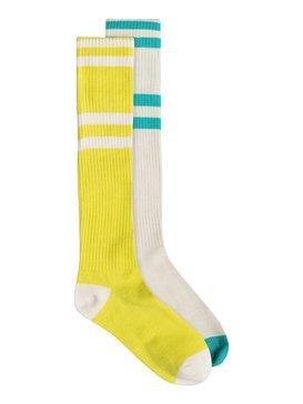 82197D  2Pk Roxy Logo Athletic Knee High Socks 82197D