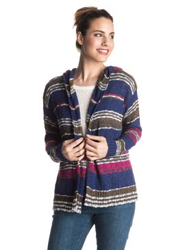 Misty Seas Stripe - Hooded Cardigan  ERJSW03141