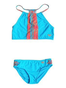 Girl's 7-14 Moroccan Stripes Tankini Set Blue RRF68637