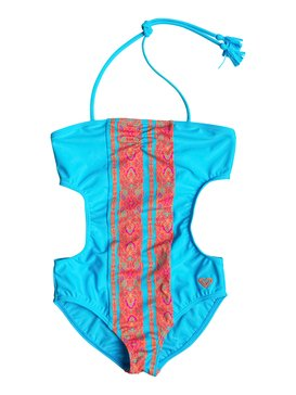 Girl's 7-14 Moroccan Stripes One Piece Swimsuit Blue RRF68667