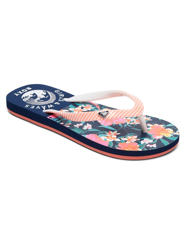0 Girls 7-14 Pebbles Flip Flops Blue ARGL100031 Roxy