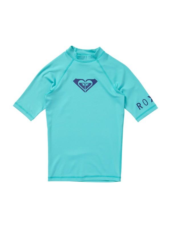 0 Girls 7-14 Whole Hearted Short Sleeve Rashguard Blue ARGWR00011 Roxy