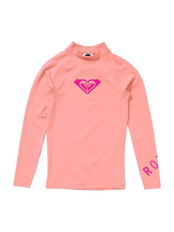 0 Girls 7- 14 Whole Hearted Long Sleeve Rashguard Pink ARGWR00012 Roxy