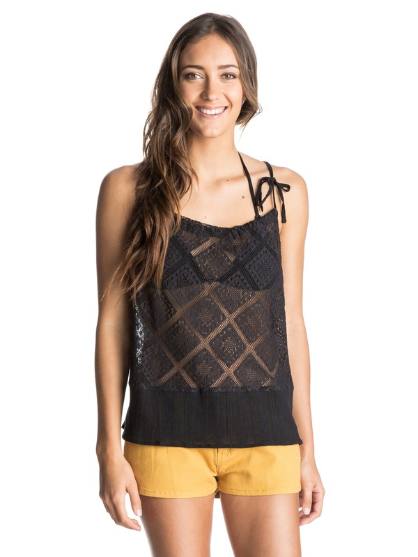 0 Little Geiger Crochet Split Back Top  ARJKT03121 Roxy