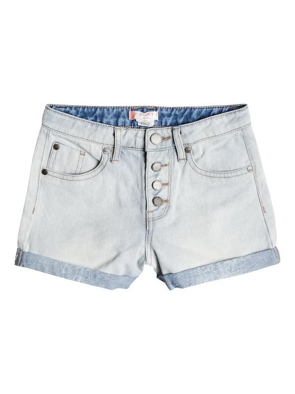 0 Girls 7-14 Go Find Yourself High Waisted Denim Shorts Blue ERGDS03031 Roxy