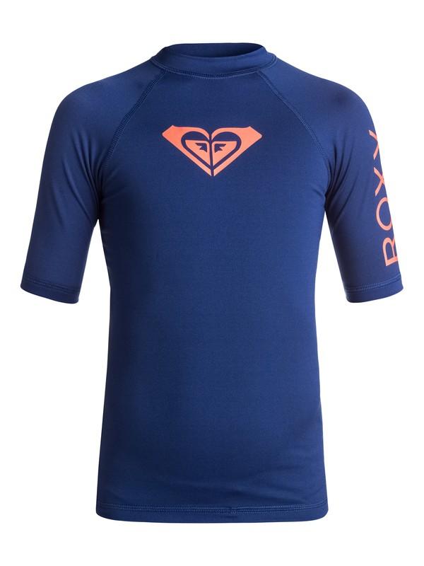 0 Girls 7-14 Whole Hearted Short Sleeve Rashguard Blue ERGWR03006 Roxy