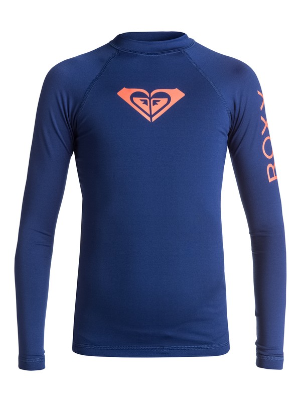 0 Girls 7-14 Whole Hearted Long Sleeve Rashguard Blue ERGWR03007 Roxy