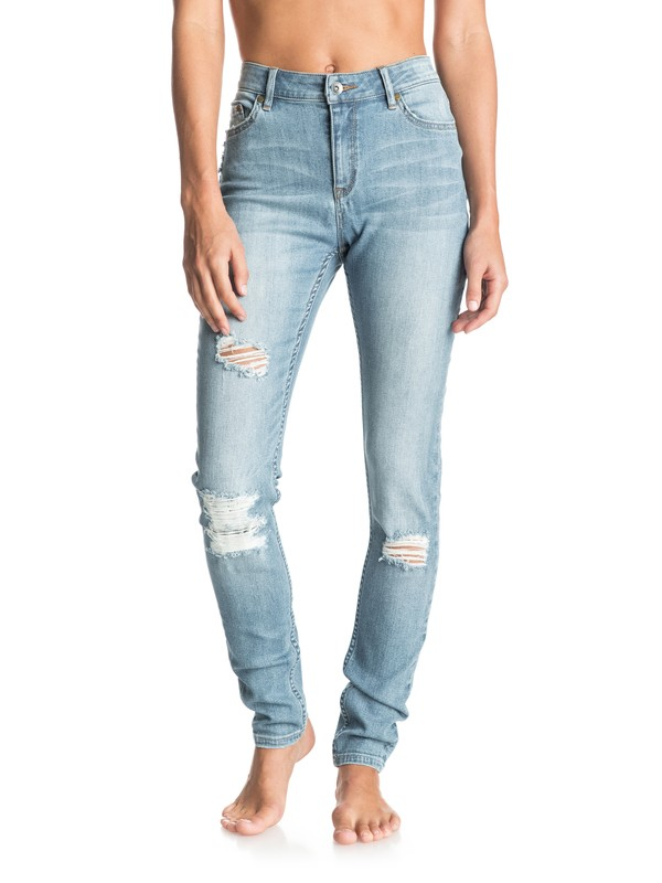 0 Suntrippers High Waisted Distressed Skinny Jeans  ERJDP03132 Roxy