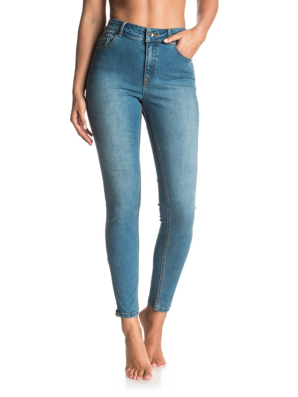 0 Night Spirit Medium Blue Skinny High Waisted Jeans  ERJDP03152 Roxy