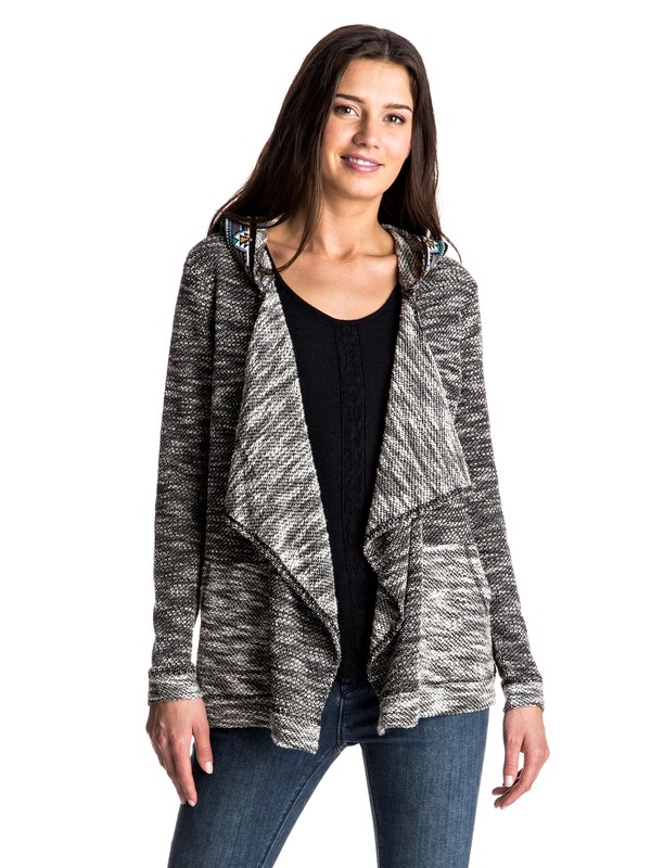 0 Cross Stepped - Waterfall Hooded Cardigan Black ERJFT03479 Roxy
