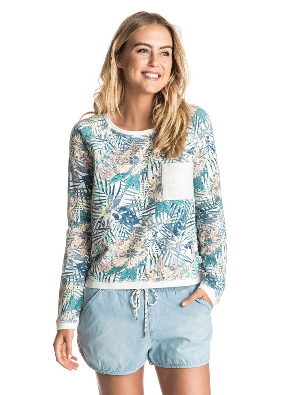 0 Whitewater Waves Pullover Sweatshirt White ERJFT03483 Roxy