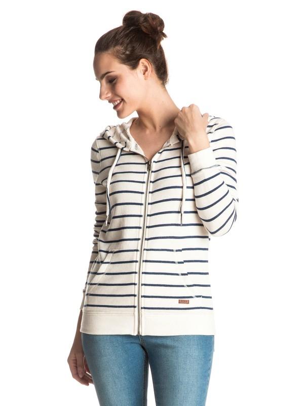 0 Signature Stripe Zip Hoodie White ERJFT03487 Roxy