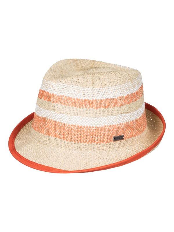 0 Big Swell Stripe Straw Fedora Beige ERJHA03108 Roxy