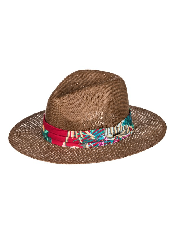 0 Here We Go Straw Panama Hat Brown ERJHA03157 Roxy