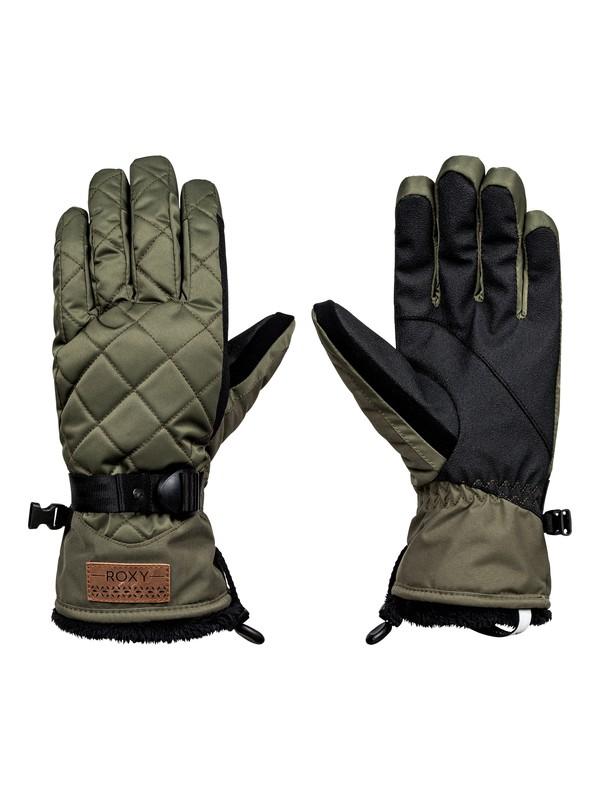 0 Merry Go Round - Snowboard/Ski Gloves Green ERJHN03069 Roxy