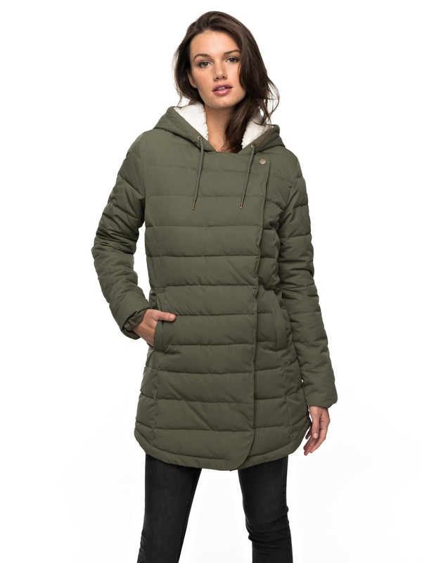 0 Glassy Coast - Water Repellent Padded Parka Green ERJJK03204 Roxy