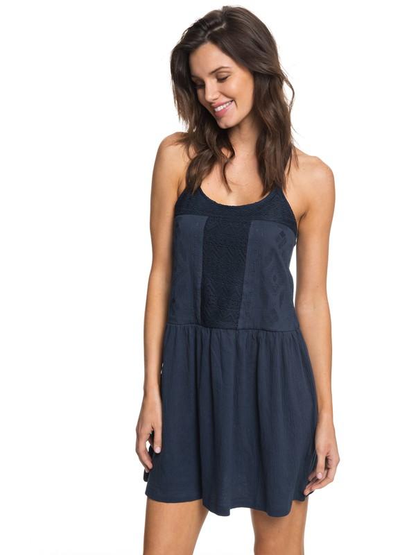 0 White Beaches - Vestido de Tirantes Azul ERJKD03167 Roxy