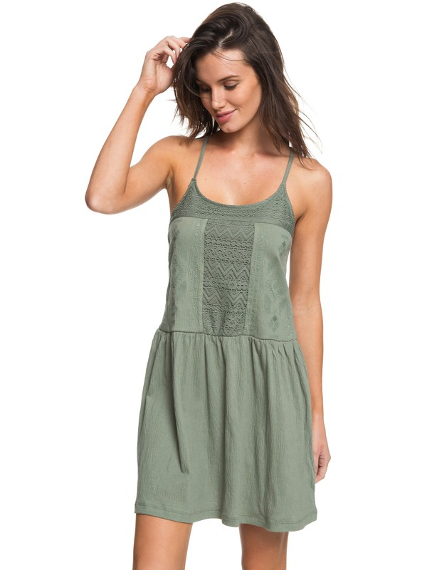 0 White Beaches - Strappy Dress Green ERJKD03167 Roxy