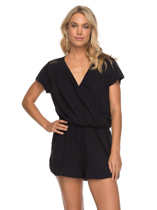 0 Salty Evening - Short Sleeve Playsuit Black ERJKD03168 Roxy