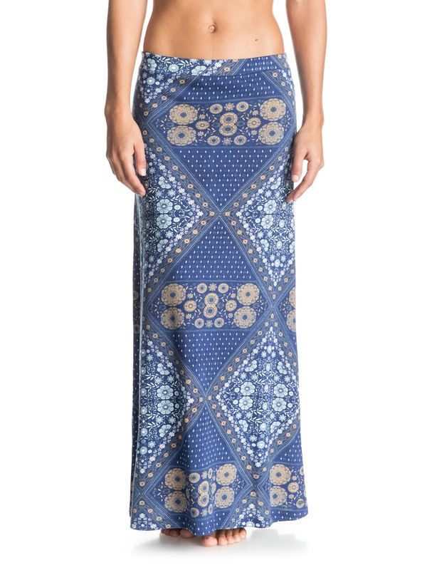 0 Forever Found Printed Maxi Skirt Blue ERJKK03009 Roxy