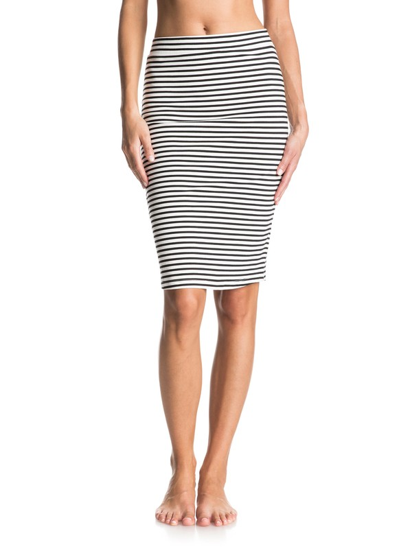 0 Call Up In Dreams Stripe Midi Bodycon Skirt White ERJKK03016 Roxy
