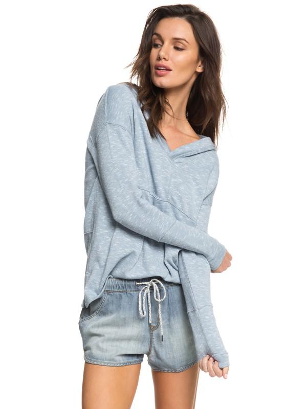 0 Sunset Surfside - Hooded Poncho Sweatshirt Blue ERJKT03367 Roxy